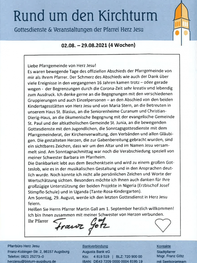 Rund Um Den Kirchturm 02.08. 29.08.